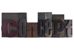 Concept, word written in letterpress type blocks. Word concept in vintage wooden letterpress type, scratched and stained, isolated on white background Royalty Free Stock Photos