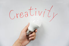 Concept wording of creativity. With LED bulb in hand Stock Photo