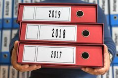 2017, 2018, 2019  concept words. Folder concept. Ring binders. Stock Photo