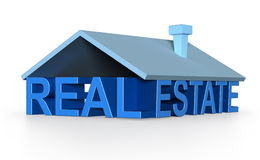 Concept of the words real estate with a roof and chimney over them Royalty Free Stock Photos