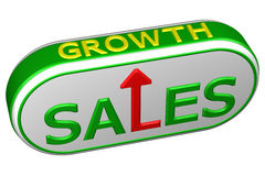 Concept: words sales and growth with arrow. 3D rendering. Concept: words sales and growth with arrow, isolated on white background. 3D rendering Stock Photo