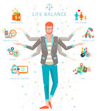 Concept of work and life balance. Dividing of human energy between important life spheres Royalty Free Stock Photo