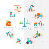 Concept of work and life balance. / dividing of human energy between important life spheres / Vector illustration Royalty Free Stock Photography