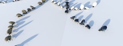 Concept work, team of ants. Moving stones; 3d illustration royalty free stock photos