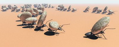 Concept work, team of ants. Moving stones; 3d illustration stock photos