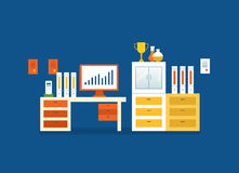 Concept - work and workplaces, success, finance, financial growth chart. Concept of illustration - work and workplaces, success, finance and financial growth Stock Photo