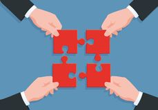 Symbol of teamwork with four hands each bringing a piece of a puzzle to find a solution to a problem. Concept of working collaboratively in a company, where vector illustration