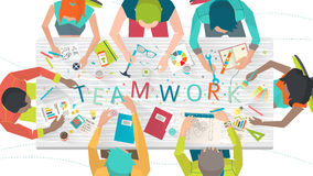 Concept of  working  in multicultural team. / coworking / typography Stock Image