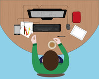 Concept of workplace with computer technology Royalty Free Stock Images