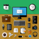 Concept of workplace. Flat icons Stock Photo