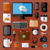 Concept of workplace. Flat icons Stock Photos