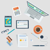 Concept of workplace with office devices and items Stock Image