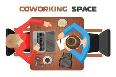 Concept of workplaces in coworking space for two people. Two girls at the desk. View from above. Place for online work or online learning. Laptop, tablet stock illustration