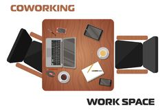 Concept of workplaces in coworking space for two people vector illustration