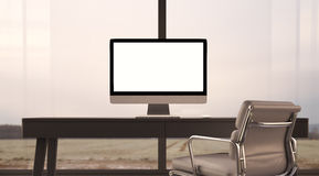 Concept of workspace with generic design computer. Generic design computer in the workspace. Big windows and panoramic view on the nature on the background Stock Photo