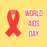 Concept of world AIDS day with red ribbon. Concept of 1 Dec world AIDS day with red ribbon. isolated on yellow background. conceptual global health problem Stock Images