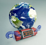 Concept of world crisis - Elements of this image furnished by NA. Time bomb with a world globe, concept of world crisis (3d render) - Elements of this image Royalty Free Stock Images