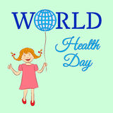 The concept of a world health day with a girl who keeps a balloon-globe. Vector illustration. Usable for design, invitation, banne. R, background, poster Stock Photo