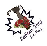 Concept on a World Labour Day 1 May, the hand holds a hammer. Vector Stock Illustration