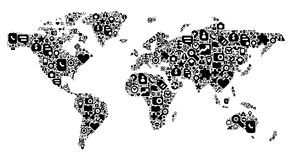 Concept of World map. World Map concept. Made of 100  icons set in black color Stock Photo