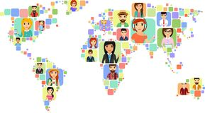 Concept of a world map with icons of various people. The concept of a world map with icons of various people. Happy people Vector Illustration