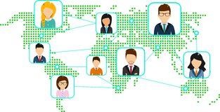 Concept of a world map with a set of icons. The concept of a world map with a set of icons representing an association of people from a distance Stock Image