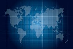 Modern blue digital world map technology concept Stock Image