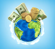 Concept of world money. Royalty Free Stock Photos