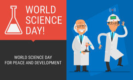 Concept World Science Day Professor Conducted Experiments on Ass. Istant. Vector Illustration. People Character Stock Photo