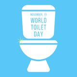 Concept of world toilet day with inscription on. Tank. isolated on blue background. modern vector illustration Royalty Free Stock Photography