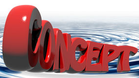 CONCEPT written with red 3D letters on water waves Royalty Free Stock Photo