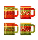 Concept xmas style rustic cups. souvenir mugs set with patchwork. Peasant ornament. Santa cup of tea. abstract greeting card for winter holiday Stock Images
