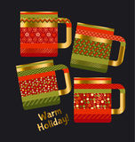 Concept xmas style rustic cups. souvenir mugs set Royalty Free Stock Photography