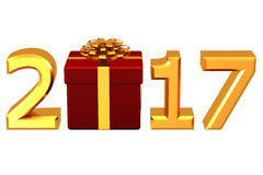 Concept: Year 2017 box. 3D rendering. Concept: Year 2017 box, isolated on white background. 3D rendering Royalty Free Stock Photography