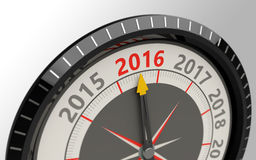 Concept year 2016. Compass and an arrow pointing to the text year 2016 Royalty Free Stock Images