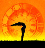 Concept of yoga and time Royalty Free Stock Photos