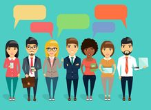 Concept of a young business communication. The concept of a young business communication. Young business team led by a boss. Speech bubbles. Happy group of Royalty Free Stock Images