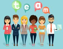Concept of a young business team. The concept of a young business team. Young people stand with each other. Happy people Stock Image