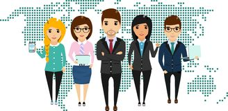 Concept of a young business team. The concept of a young business team standing side by side to each other. Happy people Stock Image