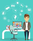 Concept of a young businessman working in the office. The concept of a young businessman working in the office. Working space. Happy guy Royalty Free Stock Photos