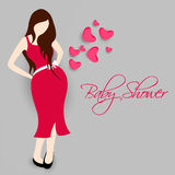 Concept of young pregnant lady for baby shower. Royalty Free Stock Photo