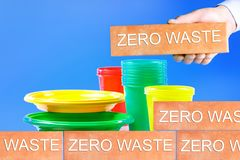 The Concept Of Zero Waste. Ban disposable dishes stock illustration