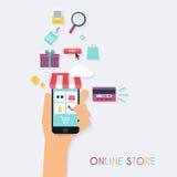 Concepten het online winkelen en elektronische handel Pictogrammen voor mobiel Stock Foto's