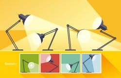 Concepten lezing-lamp, vlakke ontwerp vectorillustratie Royalty-vrije Stock Fotografie