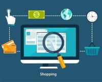 Concepten online betalingsmethodes en aankoopgoederen Vlakke desi Stock Afbeeldingen