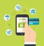 Concepten online betalingsmethodes Pictogrammen voor online betaling gat Stock Foto