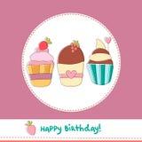 Concepten vectorillustratie van cupcakes Stock Fotografie