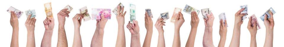 Concepten verschillende munten, het crowdfunding stock foto