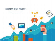 Concepten voor bedrijfsontwikkeling, groepswerk, financieel verslag en strategie Stock Foto