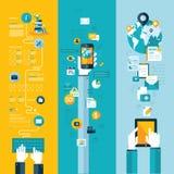 Concepten voor de website, mobiele en tabletdiensten Stock Afbeeldingen